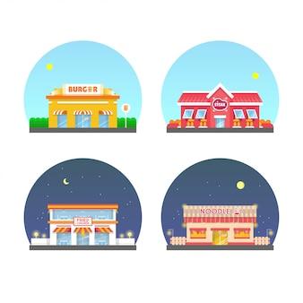 Zestaw ilustracji budynku restauracji. makaron, hamburger, stek, smażony kurczak