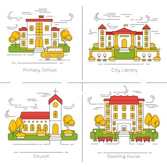 Zestaw ilustracji budynku