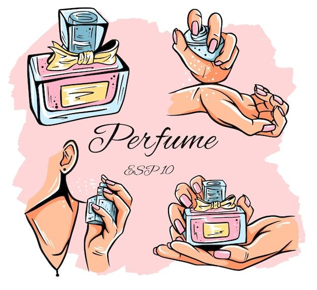 Zestaw ilustracji butelek perfum. woda perfumowana. woda toaletowa. butelka perfum w dłoni. wyizolowane obiekty.