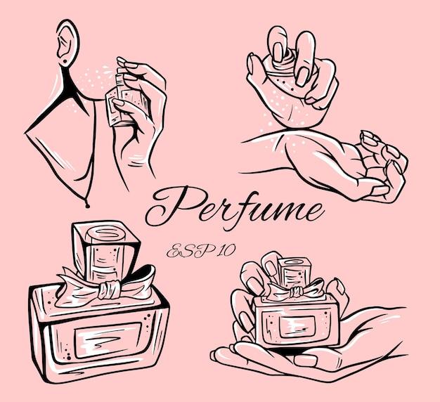 Zestaw ilustracji butelek perfum. woda perfumowana. woda toaletowa. butelka perfum w dłoni.