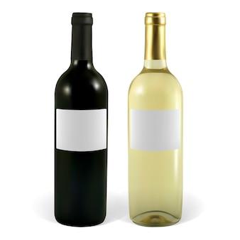 Zestaw ilustracji butelek wina