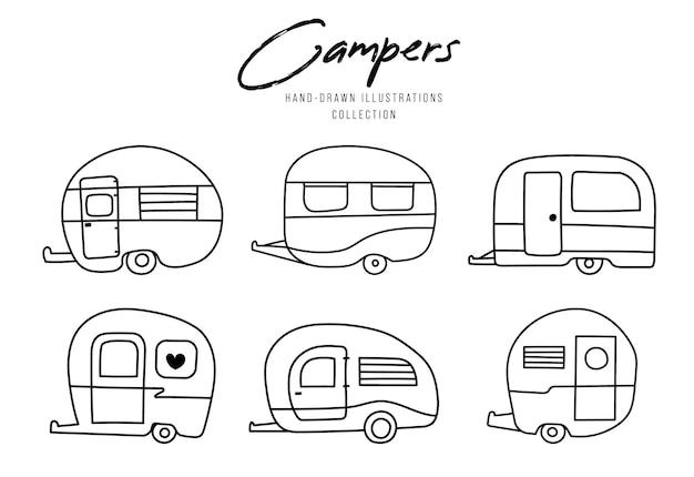Zestaw ilustracji camper, obóz letni, wycieczka.