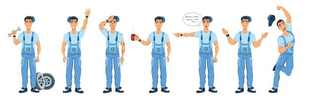 Zestaw ilustracji charakter mechanik samochodowy