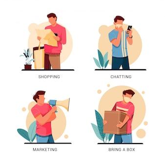 Zestaw ilustracji charakteru działalności człowieka, płaska konstrukcja koncepcji