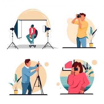 Zestaw ilustracji charakteru fotografa aktywności, koncepcja płaska konstrukcja