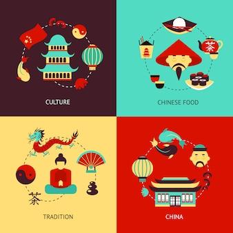 Zestaw ilustracji chin