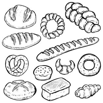 Zestaw ilustracji chleb wyciągnąć rękę. biały chleb, bułka, bajgiel, rogalik. element plakatu, papier pakowy. ilustracja