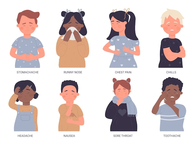 Zestaw ilustracji chorych dzieci. dzieci złe zdrowie zbiór niezdrowego chłopca i dziewczynki z bólem gardła, ból brzucha ból głowy ból zęba, choroba grypy płaczące dziecko