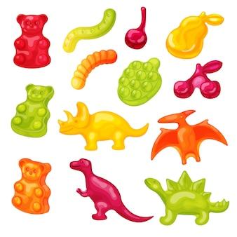 Zestaw ilustracji cukierki gummy. słodki słodki miś galaretki kreskówka, robak marmolady, kolorowe ikony karmy dla zwierząt na białym