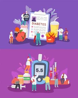 Zestaw ilustracji cukrzycy, diagnoza, kontrola i kontrola poziomu cukru we krwi, dieta.