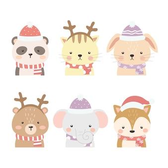 Zestaw ilustracji cute zwierząt
