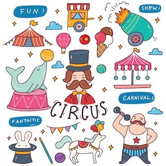 Zestaw ilustracji cyrkowych doodle