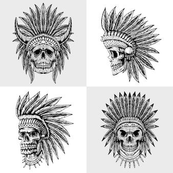 Zestaw ilustracji czaszki indian kolekcji