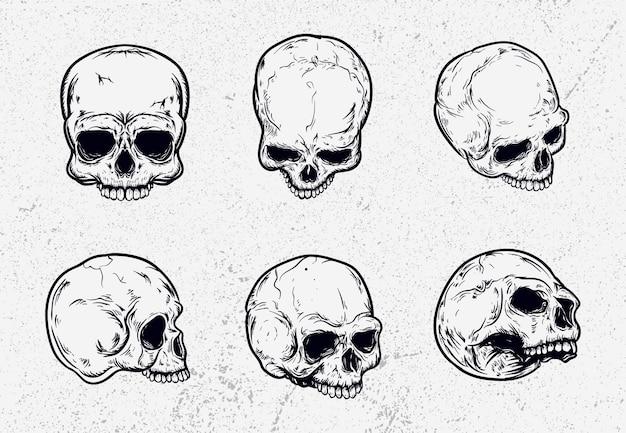 Zestaw ilustracji czaszki zestaw