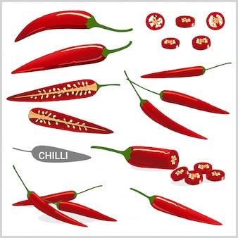 Zestaw ilustracji czerwona papryka chili