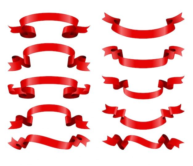 Zestaw ilustracji czerwoną wstążką banery