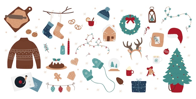 Zestaw ilustracji dekoracji świątecznej, ręcznie rysowane styl.