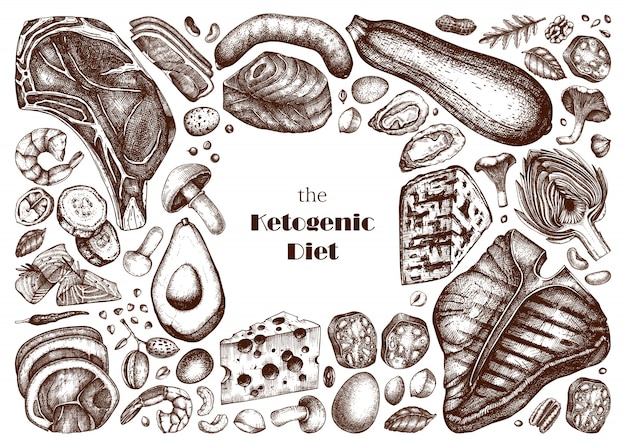 Zestaw ilustracji diety ketogenicznej. ręcznie rysowane szkice żywności ekologicznej i produktów mlecznych. elementy diety keto - mięso, warzywa, zboża, orzechy, grzyby.