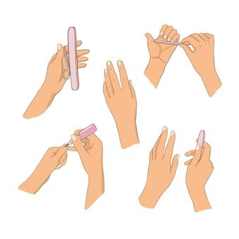 Zestaw ilustracji dłoni do manicure