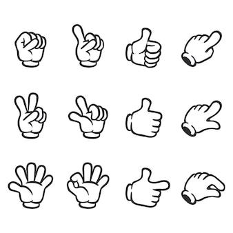 Zestaw ilustracji dłoni