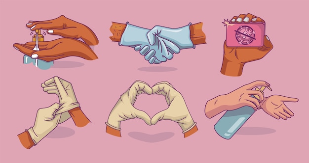 Zestaw ilustracji do higieny i zapobiegania infekcjom. umyć rękę, rękawiczki medyczne.