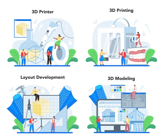 Zestaw ilustracji do modelowania 3d