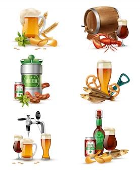 Zestaw ilustracji do piwa z beczki