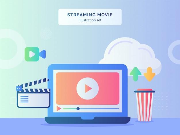 Zestaw ilustracji do przesyłania strumieniowego filmu, odtwarzanie wideo w pobliżu ikona filmu z aparatem, przesyłanie do chmury w stylu płaskim