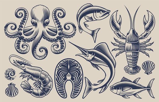 Zestaw ilustracji do tematu owoców morza na jasnym tle.