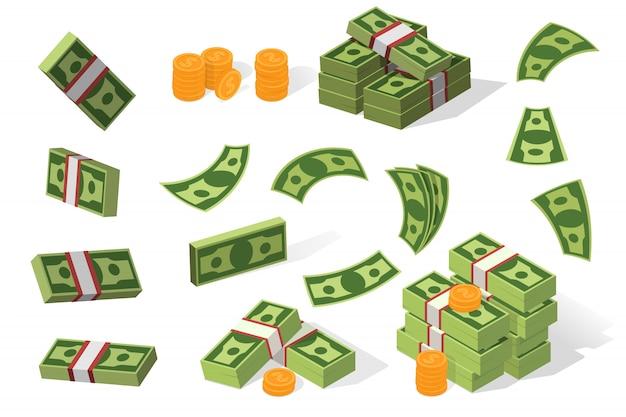 Zestaw ilustracji dolarów