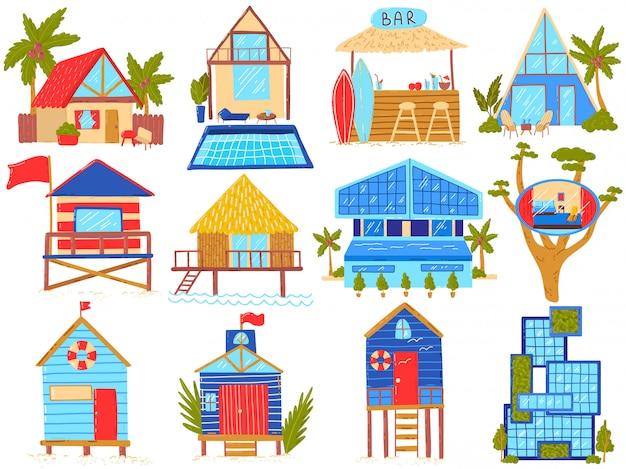 Zestaw ilustracji domów na plaży, kreskówkowe chaty ze słomy na plaży, domek w domku z palmami lub hotele w willi z egzotycznymi domami