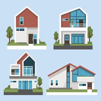 Zestaw ilustracji domu płaska konstrukcja
