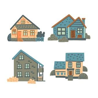 Zestaw ilustracji domu
