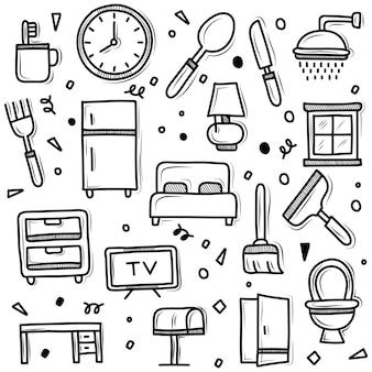 Zestaw ilustracji doodle gospodarstwa domowego
