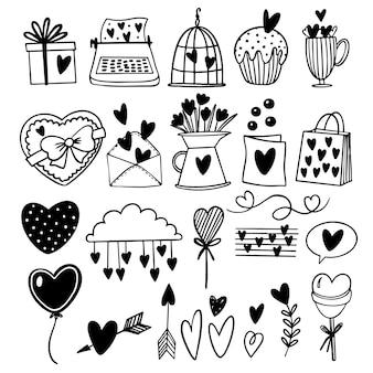 Zestaw ilustracji doodle na walentynki
