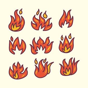 Zestaw ilustracji doodle ognia