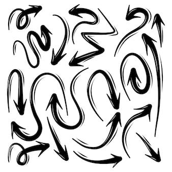 Zestaw ilustracji doodle strzałki