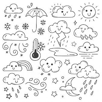 Zestaw ilustracji doodles pogody