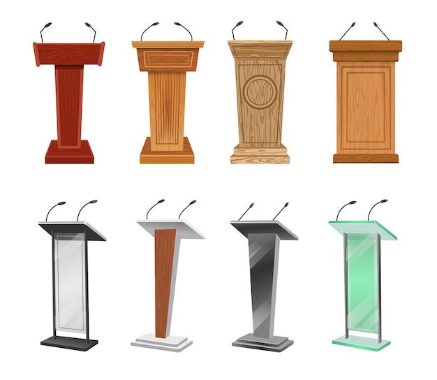 Zestaw ilustracji drewnianych i metalowych podium