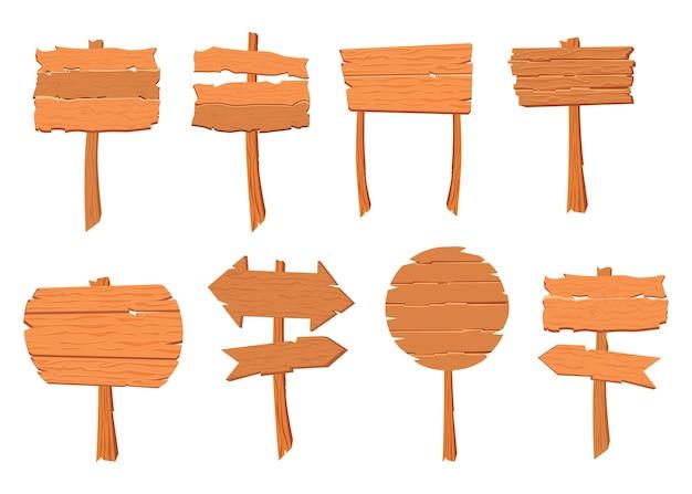 Zestaw ilustracji drewnianych znaków o różnych kształtach