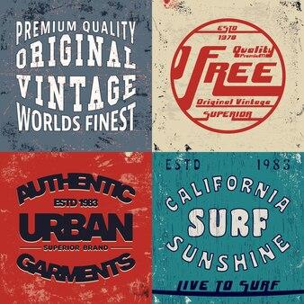 Zestaw ilustracji druku vintage design