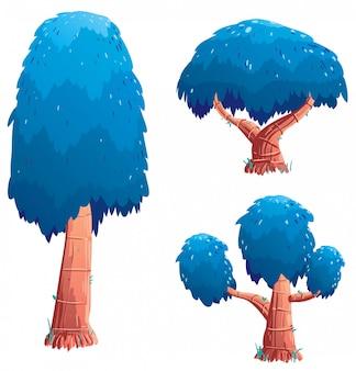 Zestaw ilustracji drzewa