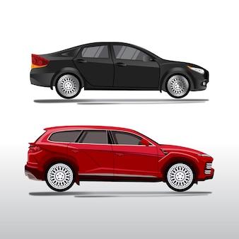 Zestaw ilustracji dwóch luksusowych pojazdów typu sedan i suv, realistyczny styl wektor