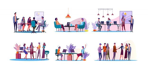 Zestaw ilustracji dyskusji korporacyjnych