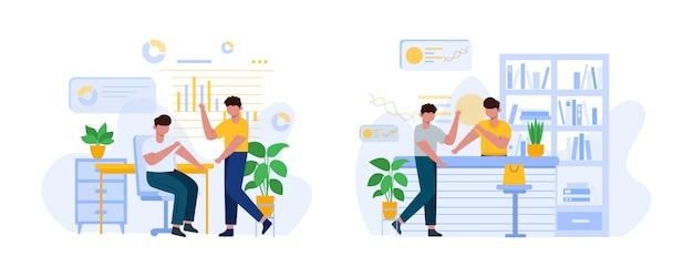 Zestaw ilustracji dyskusji ludzi