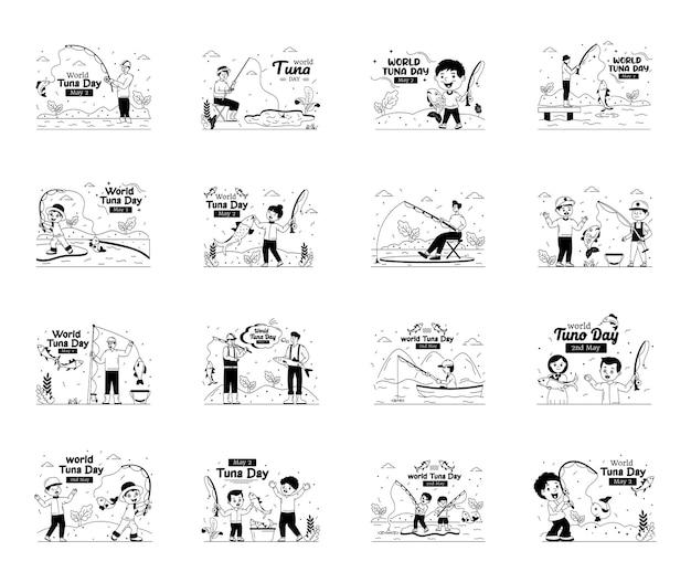 Zestaw ilustracji dzień tuńczyka