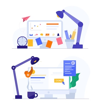 Zestaw ilustracji edukacyjnych. konfiguracja niezależnego biurka