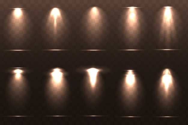 Zestaw ilustracji efektów świetlnych
