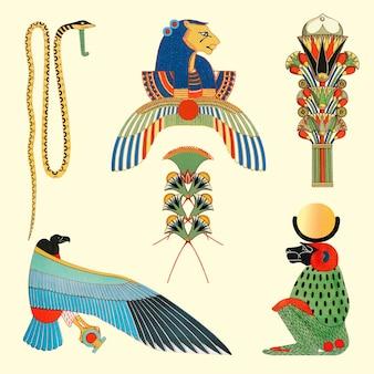 Zestaw ilustracji egipskiego projektu, zremiksowany z dzieł należących do domeny publicznej