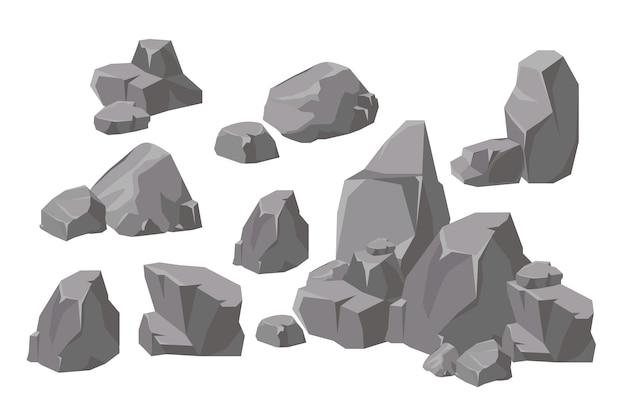 Zestaw ilustracji elementów i kompozycji skał i kamieni w stylu cartoon płaski. kamień z kreskówek do gier i tła.